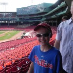 Wearing full Phillies gear on a Fenway Park Tour