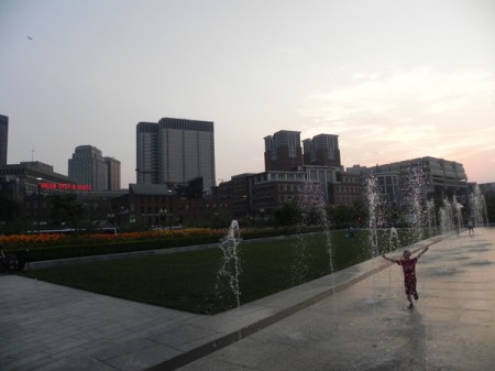 Playing in the fountains on the Rose Kennedy Greenway