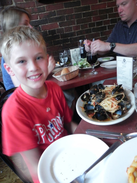 Mussels and pasta at Giacomo's in Boston