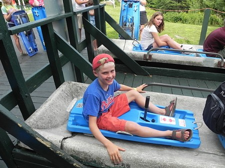 Preparing for launch on the Stowe Alpine Slide