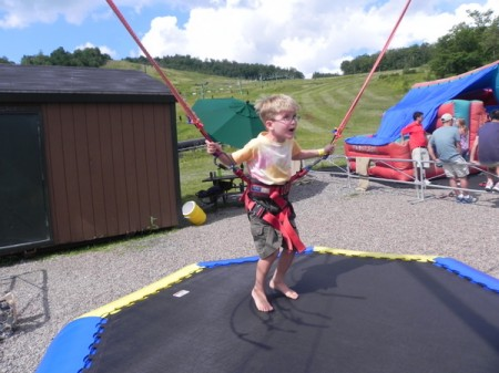 Preparing to jump on the Stowe Bungee Trampoline