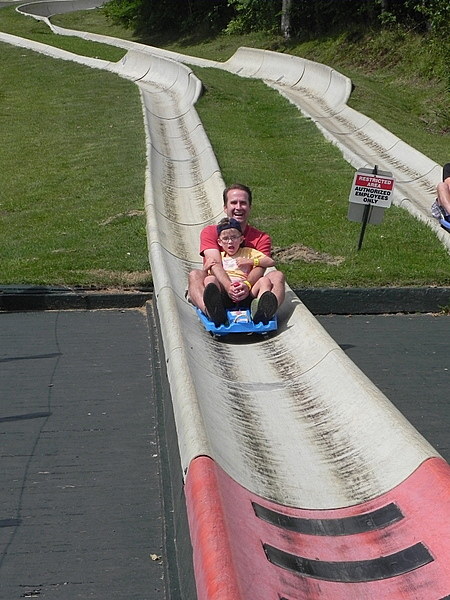 At the finish line on the Stowe Alpine Slide