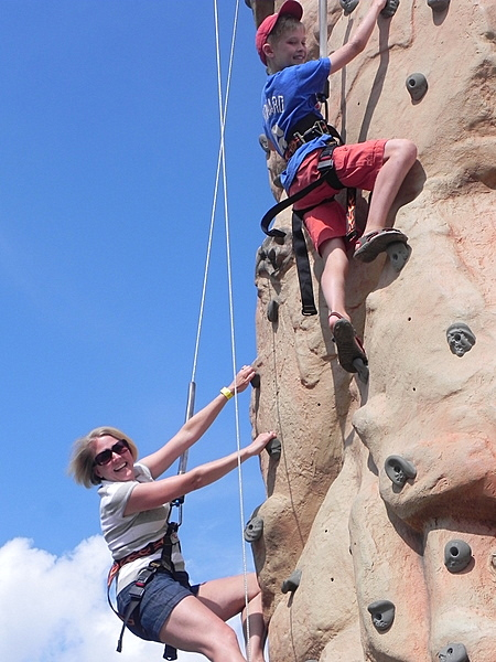 A race up the Stowe climbing wall