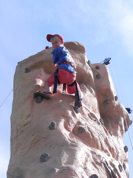 Winning the race to the top of the Stowe climbing wall
