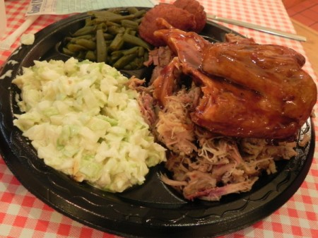Three meat combo plate at High Cotton BBQ