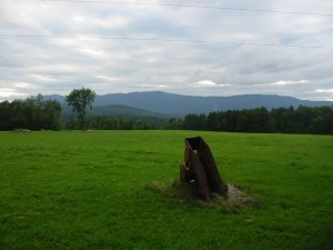 Old farm equipment is sculpture on the Common Road in Waitsfield, Vermont