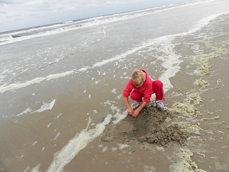 Building a castle on a Currituck Outer Banks beach