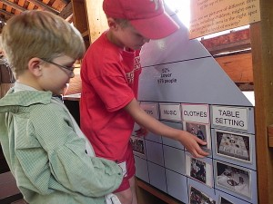 Exhibit about colonial life in the Kid's Corner, Williamsburg