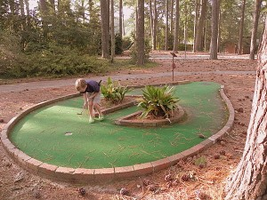 Playing mini golf at Williamsburg Woodlands
