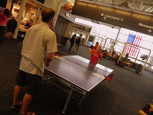 Playing ping pong at General Marshall Airport  in Milwaukee
