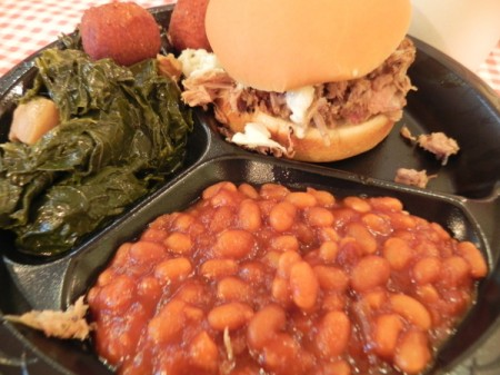 Pork sandwich plate at High Cotton BBQ