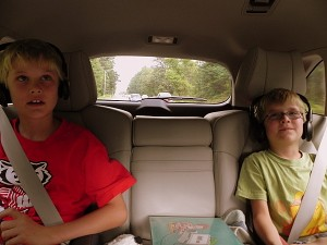 Watching a movie with wireless headphones in the Acura MDX