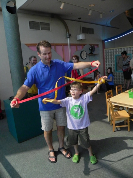 Trying to get untangled in the Discovery Center, Boston