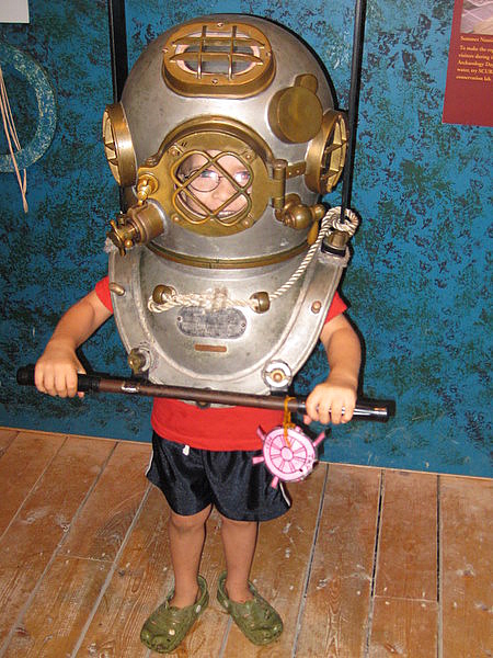 Antique diving gear at the Lake Champlain Maritime Museum