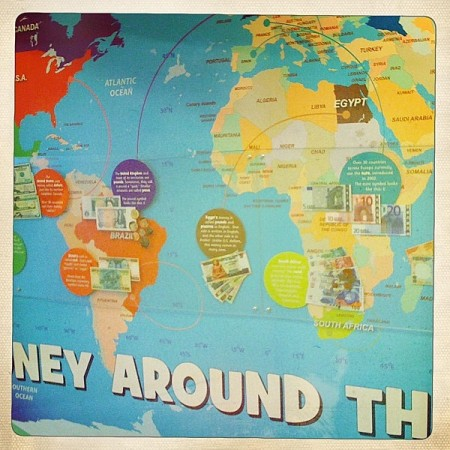 Money Around the World map at the Delaware Children's Musum
