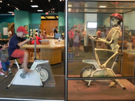 Riding a bike with a skeleton at the Museum of Science in Boston