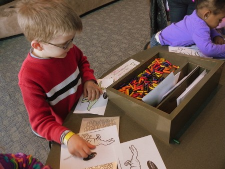 Coloring dinos at the Maryland Science Center