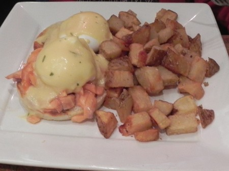 Salmon eggs Benedict at Regi's in Baltimore