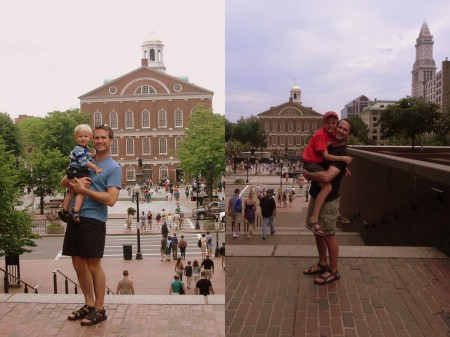In front of Faneuil Hall - then and now