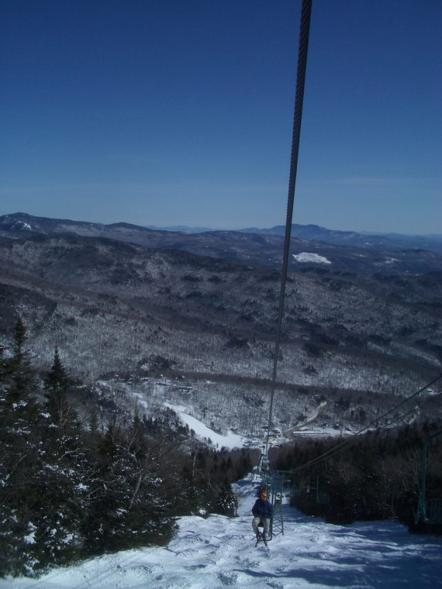 Looking down the Single Chair - that's Mount Mansfield in the background.