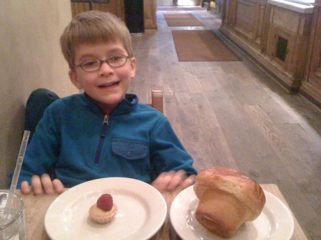 Cute pastries (and kid) at the Pain Quotidien