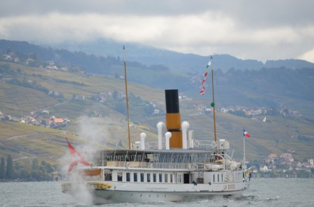 Paddle steamer on Lake Geneva in Switzerland