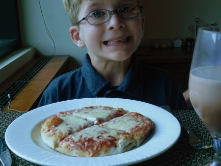 Pizza from the kids' menu at Stowe Mountain Lodge