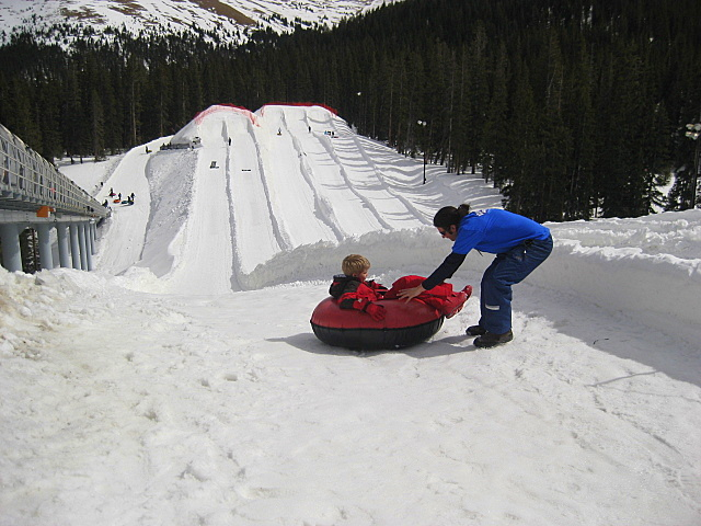 Spinning in a tube at Adventure Point, Keystone Resort
