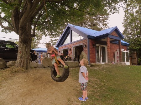 Tire swing at The Blue Donkey in Stowe, Vermont