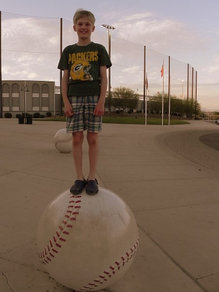 Outside the Big League Dreams Sports Park in Gilbert, Arizona