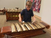 Playing an Indonesian metallophone a the Musical Instrument Museum in Scottsdale, Arizona