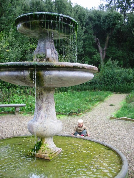 Playing in the Boboli Gardens in Florence, Italy