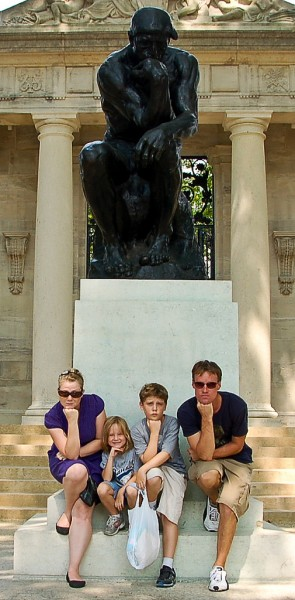 "Britt Reints and her family ""thinking"" at the Rodin Museum"