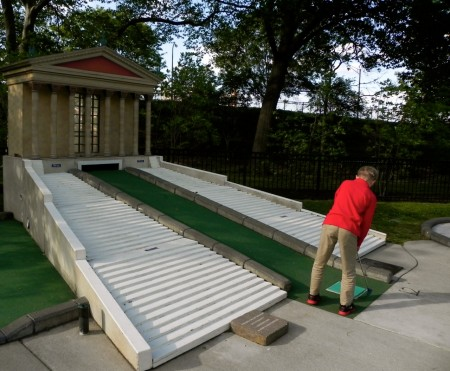 Golfing up the steps of the Art Museum in Philadelphia's Franklin Square