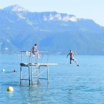 Tommy jumping into Lake Leman in Switzerland