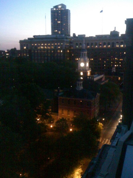 Independence Hall seen from the Omni Hotel