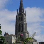 The bell tower of the monolithic church in Saint-Emilion
