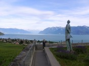This lucky statue in Switzerland gets to perpetually admire Lake Léman