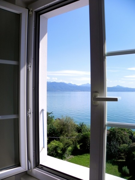 View of Lake Leman, Switzerland from our bedroom window