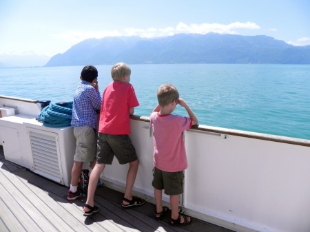 Gazing at Lake Leman, Switzerland from a paddle steamer