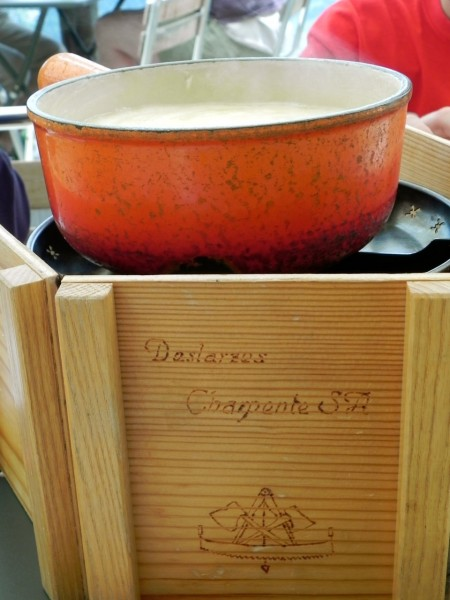 Le Marlenaz fondue comes in a well-used pot