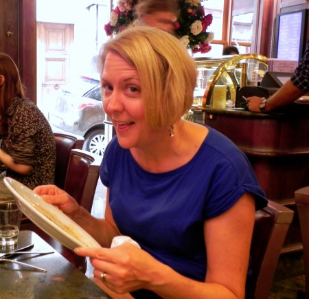 Here I am *not* licking my pate in Paris