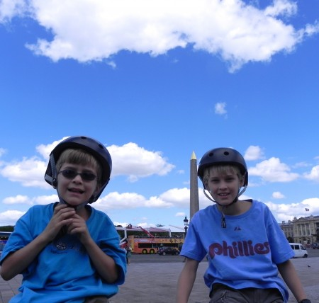 Cycling Paris with kids means riding into the Place de la Concorde