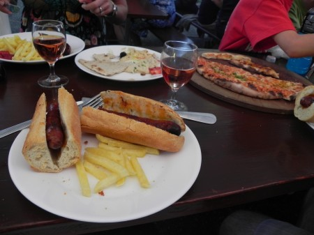Sausages and pizza for dinner in Lutry, Switzerland