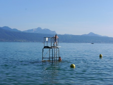 Swimming in Lake Leman, Switzerland