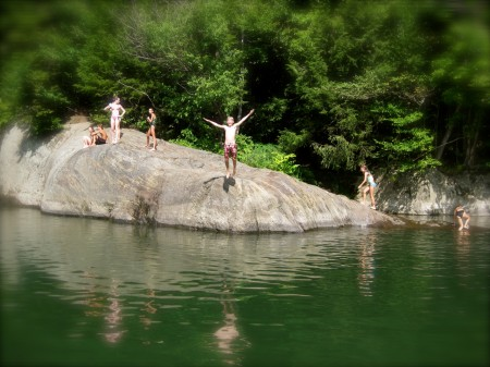 Jumping into the Mad River, Vermont