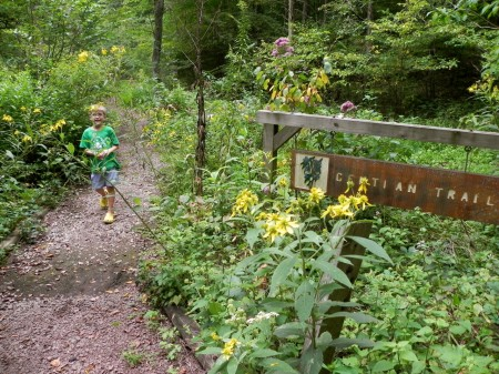 Windy trails are perfect for little feet at Bowman's Hill Wildflower Preserve in Bucks County, Pennsylvania