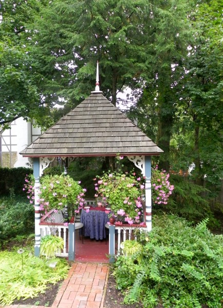 This gazebo was built at the same time as the house and has a hatch that leads to a tunnel