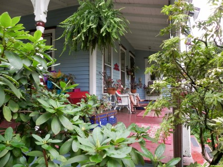 The Wedgwood Inn porch is a great place to curl up with a book