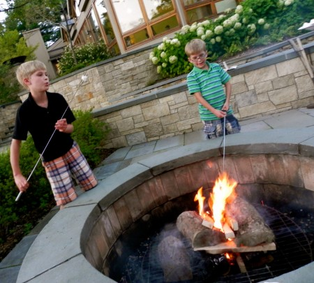 Making s'mores at Topnotch Resort and Spa